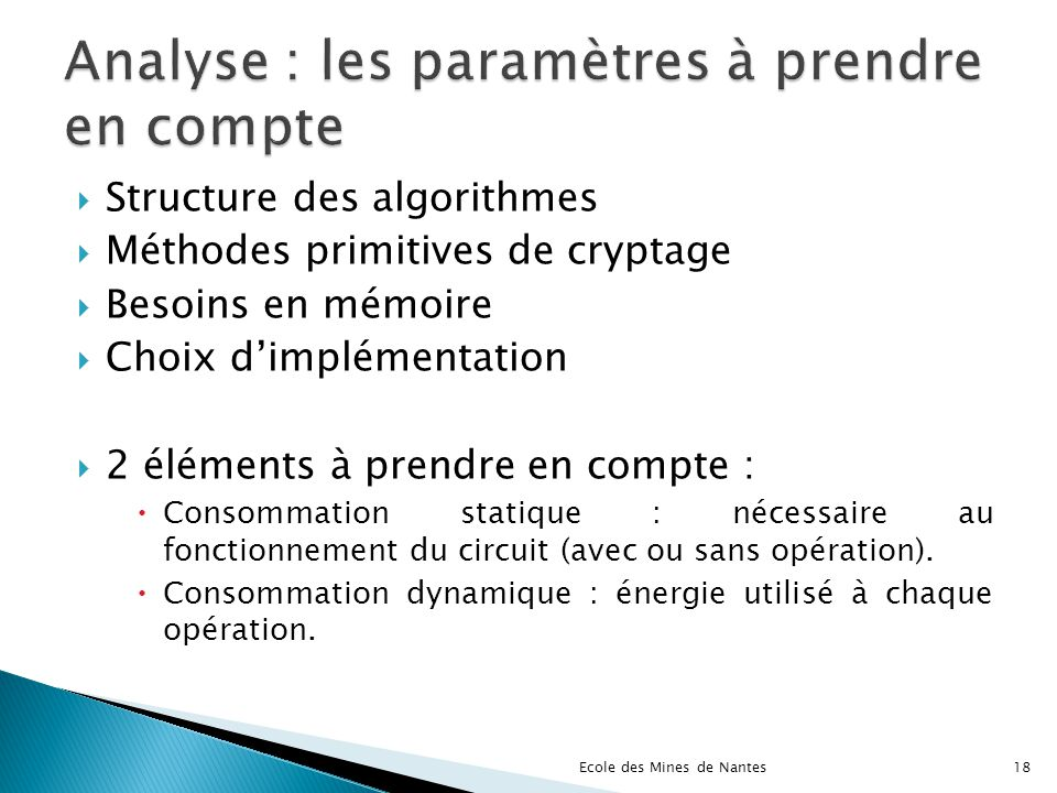 Analyse : les paramètres à prendre en compte