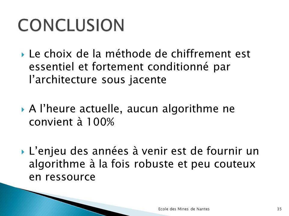 CONCLUSION Le choix de la méthode de chiffrement est essentiel et fortement conditionné par l'architecture sous jacente.