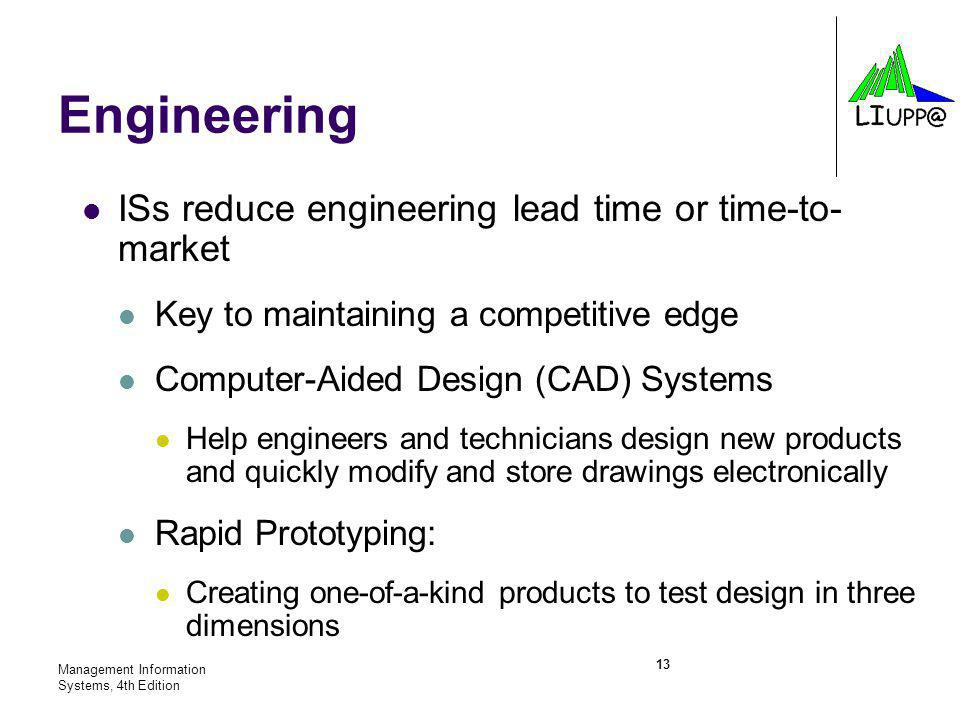 Engineering ISs reduce engineering lead time or time-to- market