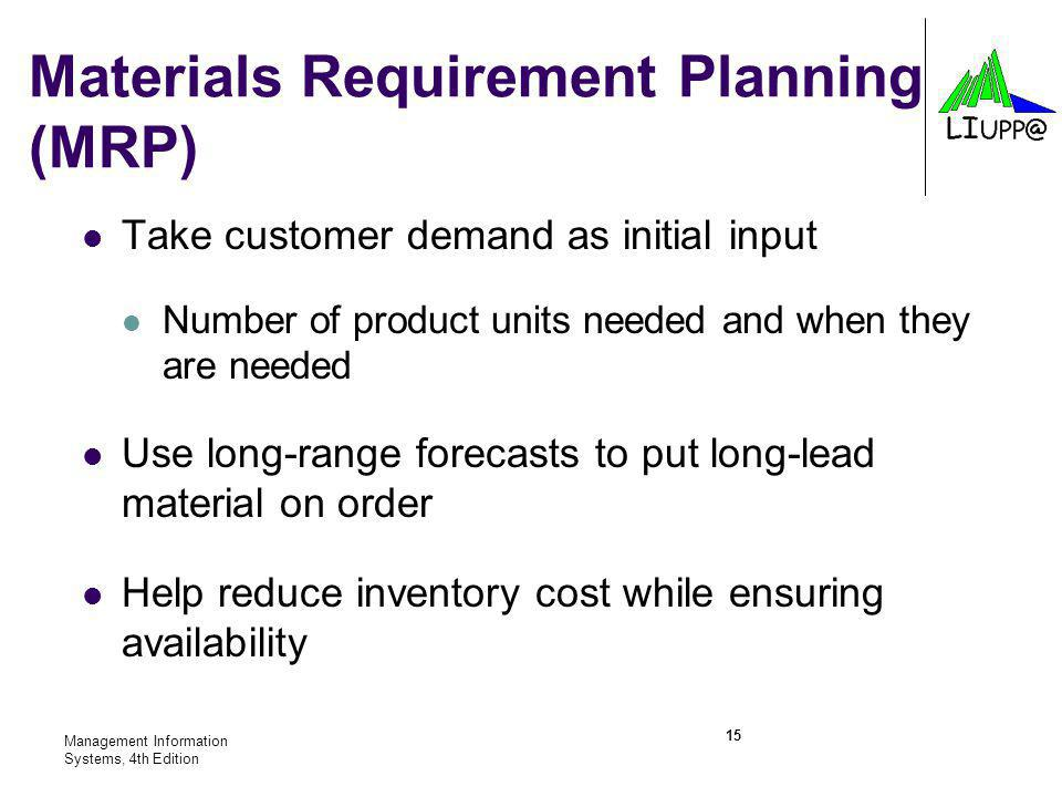 Materials Requirement Planning (MRP)