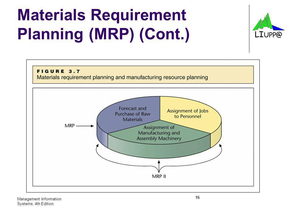 Materials Requirement Planning (MRP) (Cont.)
