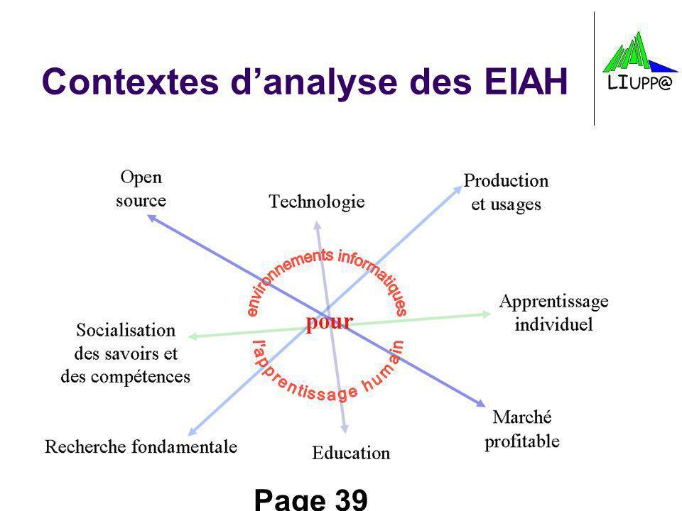 Contextes d'analyse des EIAH