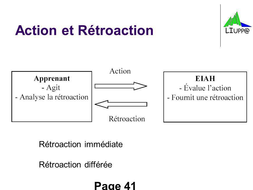 Action et Rétroaction Rétroaction immédiate Rétroaction différée