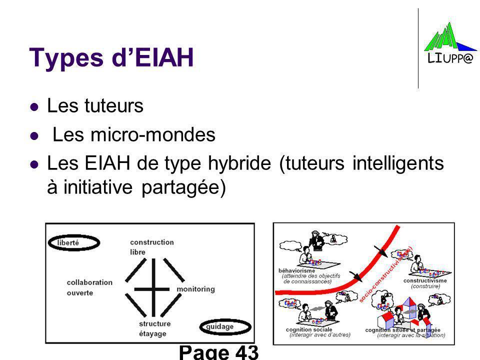 Types d'EIAH Les tuteurs Les micro-mondes