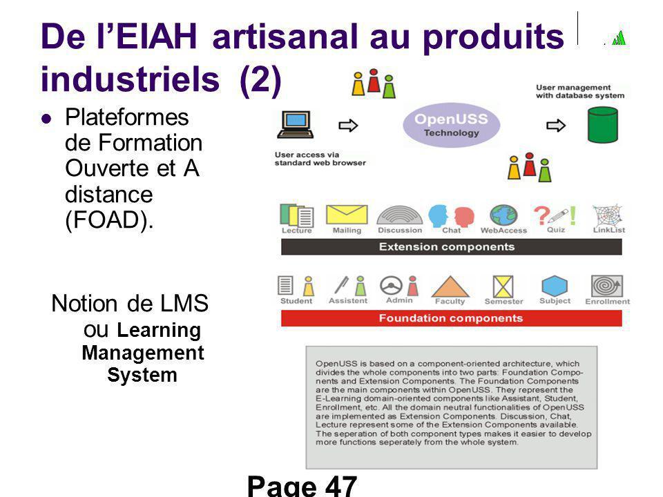 De l'EIAH artisanal au produits industriels (2)
