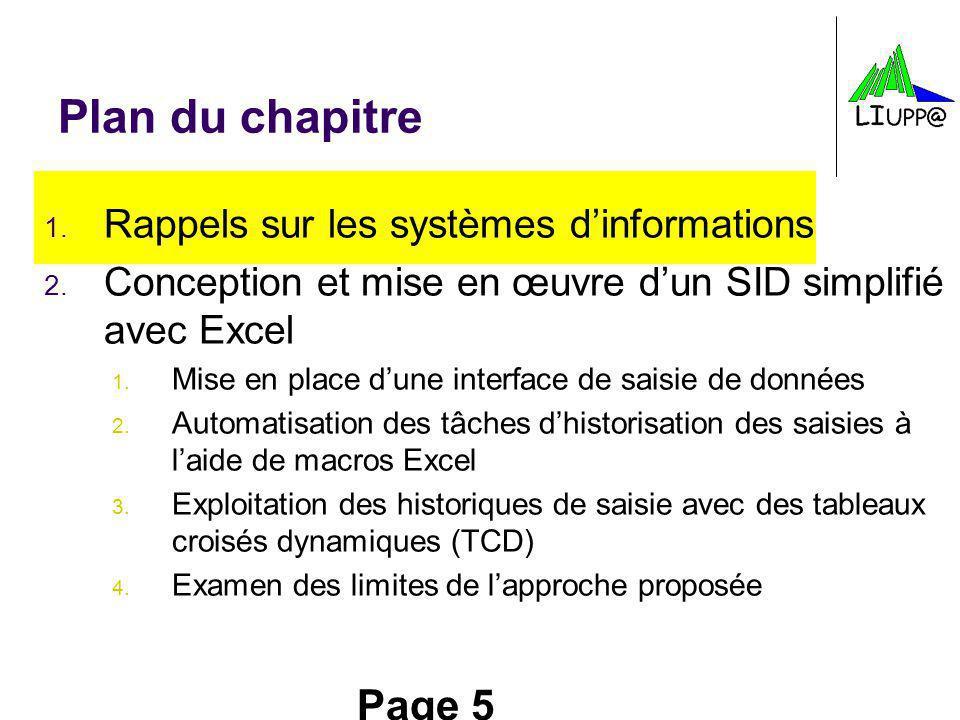 Plan du chapitre Rappels sur les systèmes d'informations