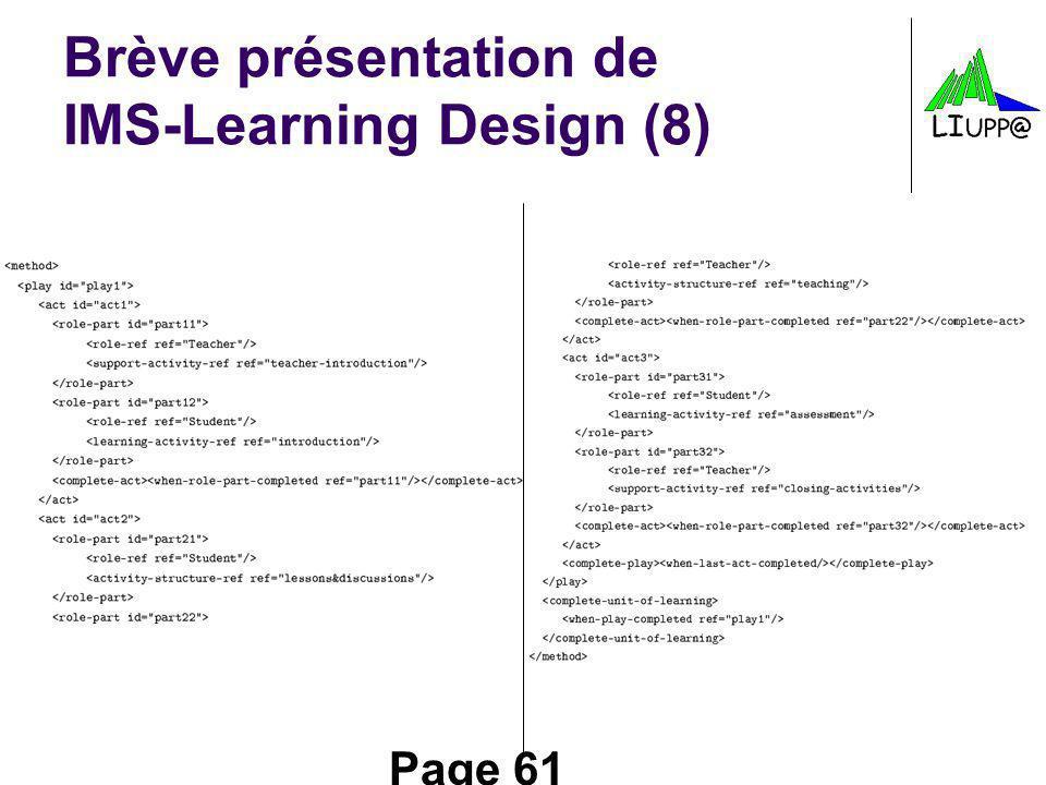 Brève présentation de IMS-Learning Design (8)