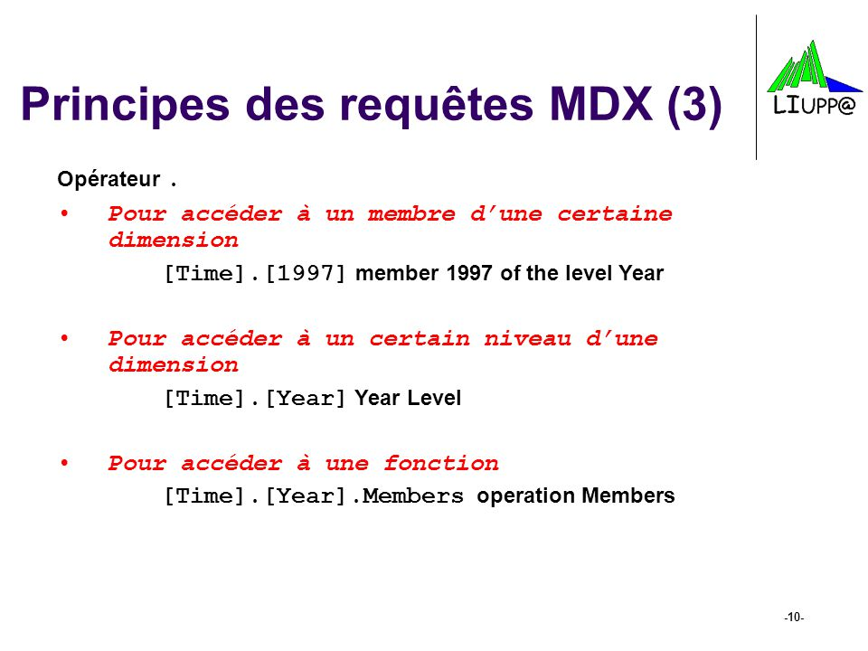 Principes des requêtes MDX (3)