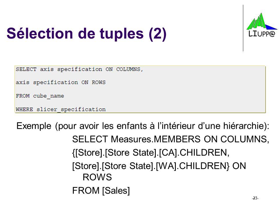 Sélection de tuples (2) Exemple (pour avoir les enfants à l'intérieur d'une hiérarchie): SELECT Measures.MEMBERS ON COLUMNS,