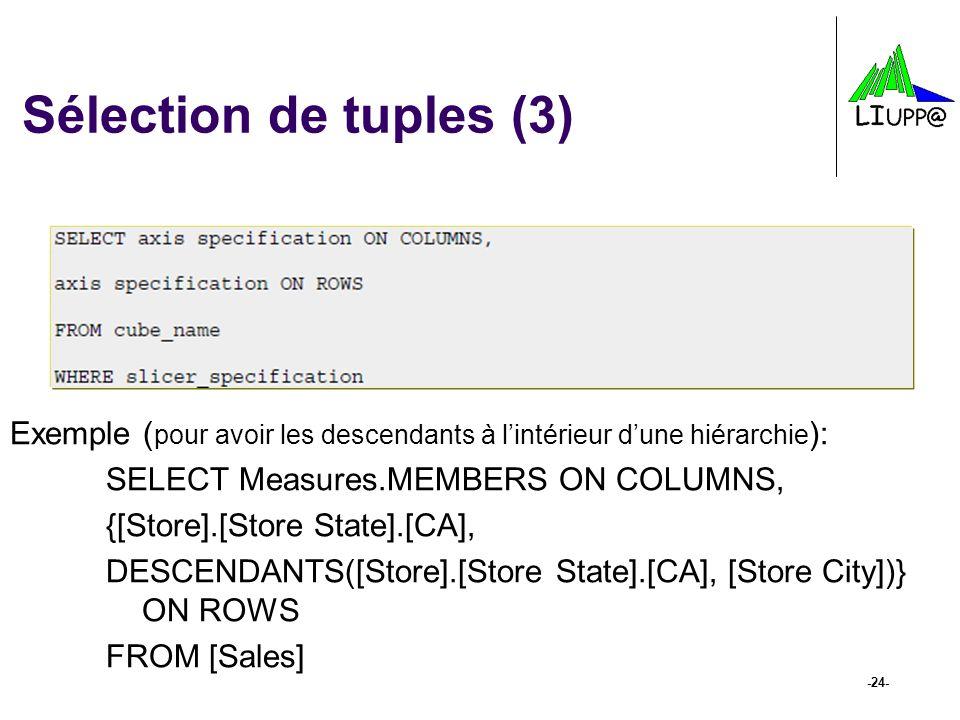 Sélection de tuples (3) Exemple (pour avoir les descendants à l'intérieur d'une hiérarchie): SELECT Measures.MEMBERS ON COLUMNS,