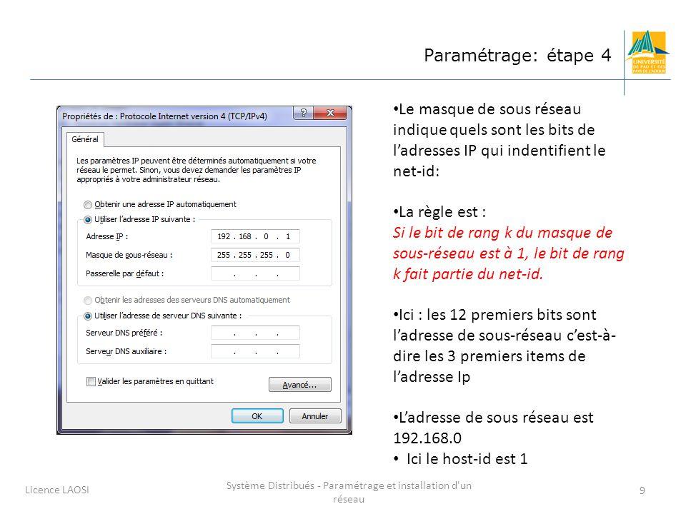 Système Distribués - Paramétrage et installation d un réseau