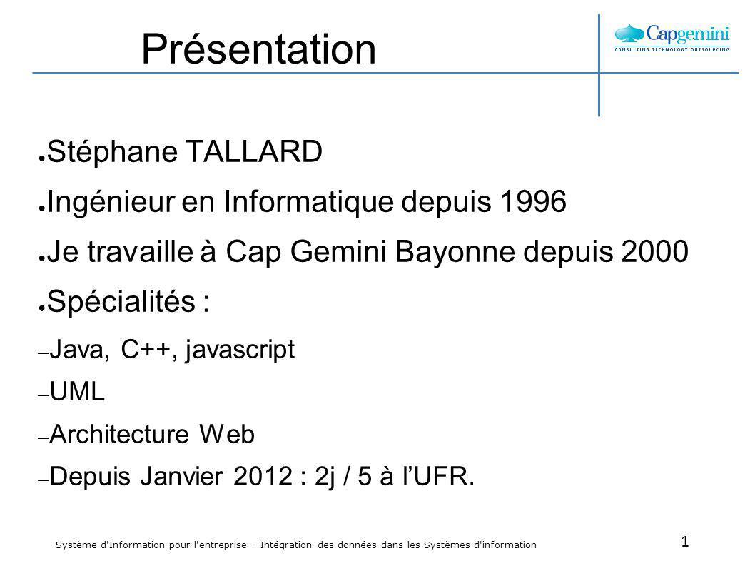 Présentation Stéphane TALLARD Ingénieur en Informatique depuis 1996