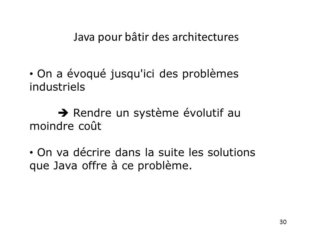Java pour bâtir des architectures