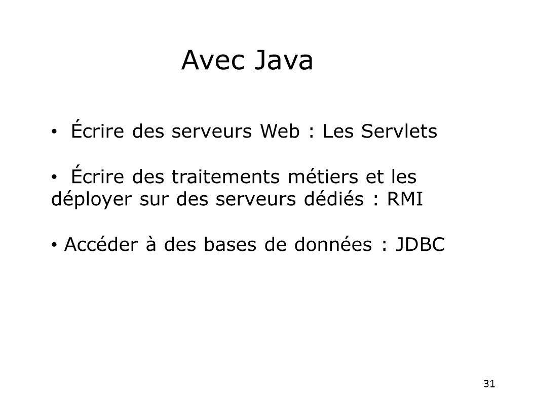 Avec Java Écrire des serveurs Web : Les Servlets