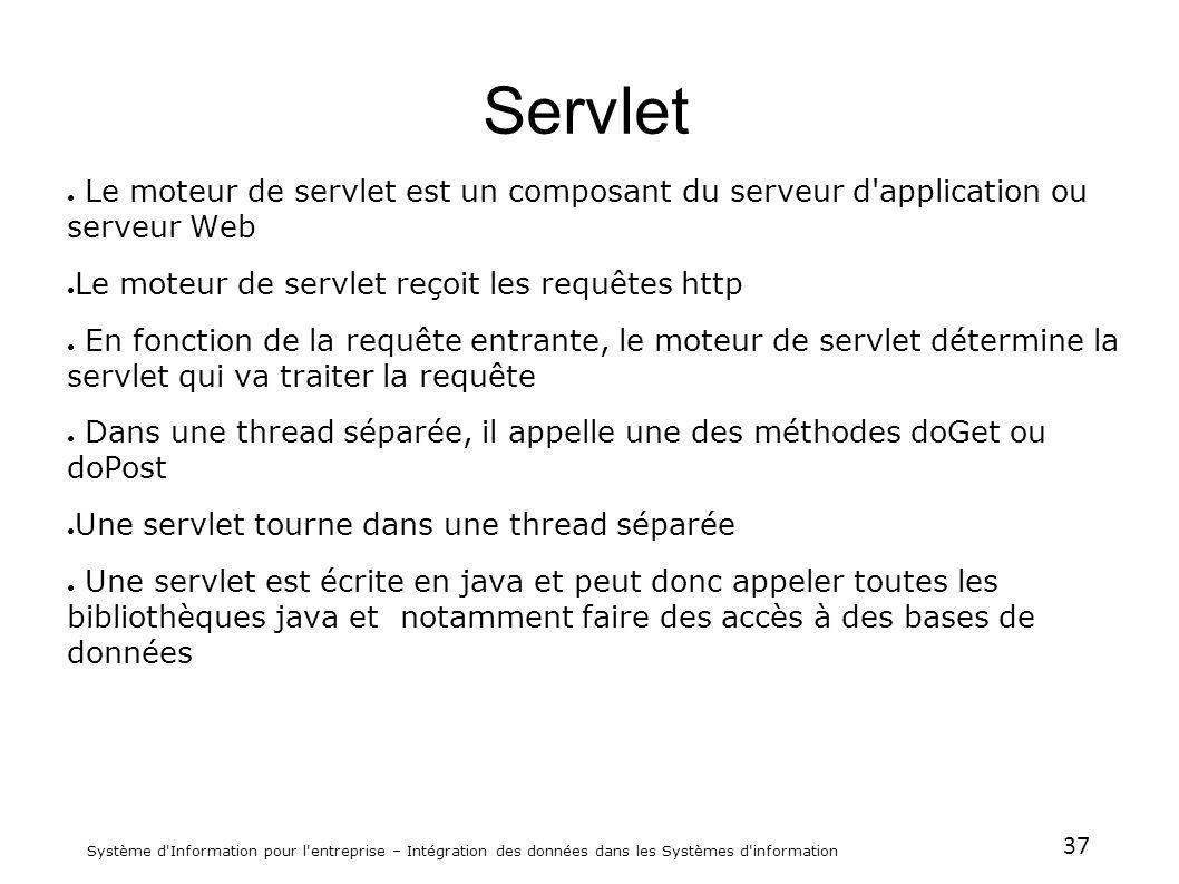 Servlet Le moteur de servlet est un composant du serveur d application ou serveur Web. Le moteur de servlet reçoit les requêtes http.