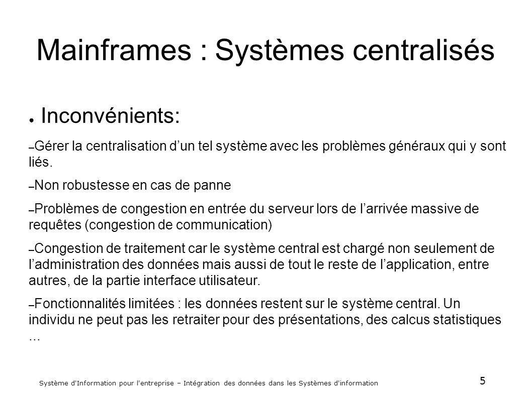Mainframes : Systèmes centralisés