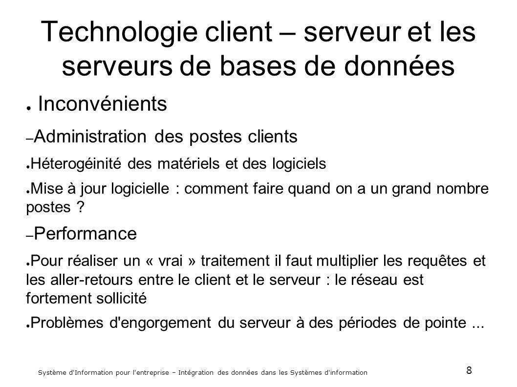 Technologie client – serveur et les serveurs de bases de données