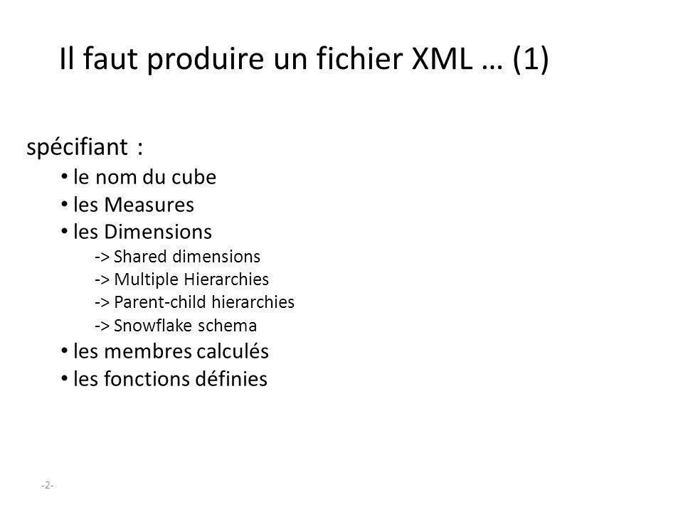 Il faut produire un fichier XML … (1)