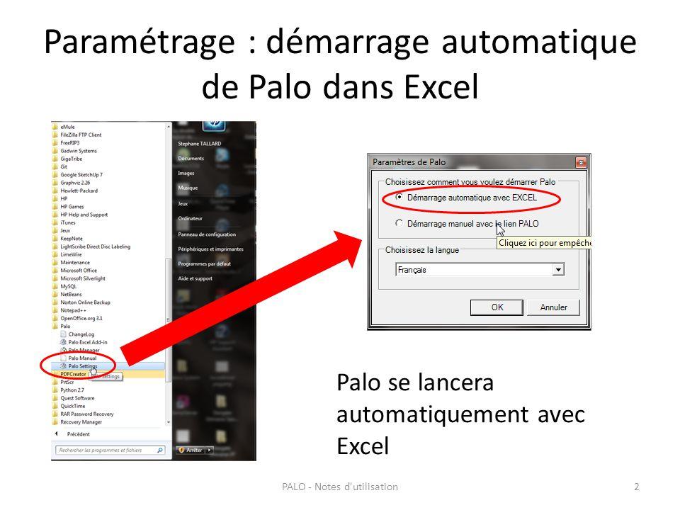 Paramétrage : démarrage automatique de Palo dans Excel