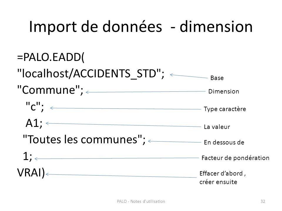 Import de données - dimension