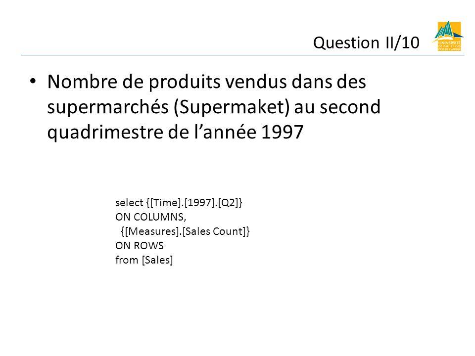 Question II/10 Nombre de produits vendus dans des supermarchés (Supermaket) au second quadrimestre de l'année 1997.