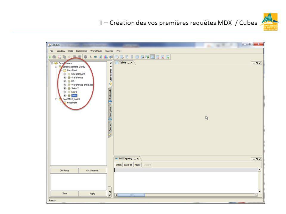 II – Création des vos premières requêtes MDX / Cubes