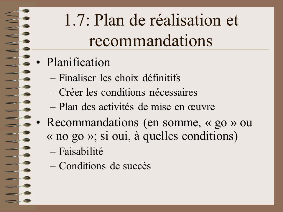1.7: Plan de réalisation et recommandations