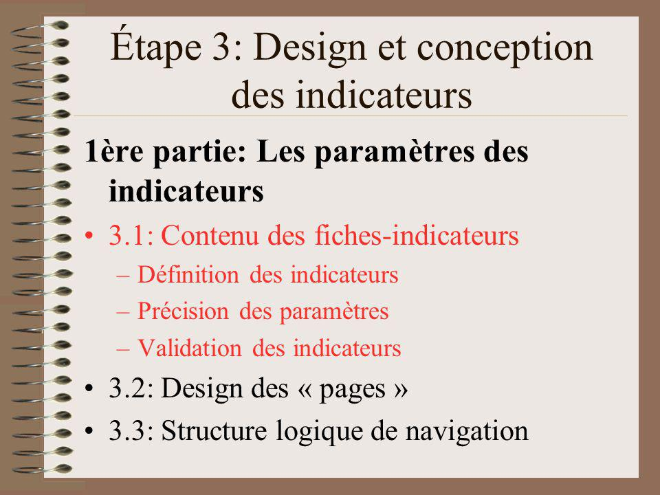 Étape 3: Design et conception des indicateurs