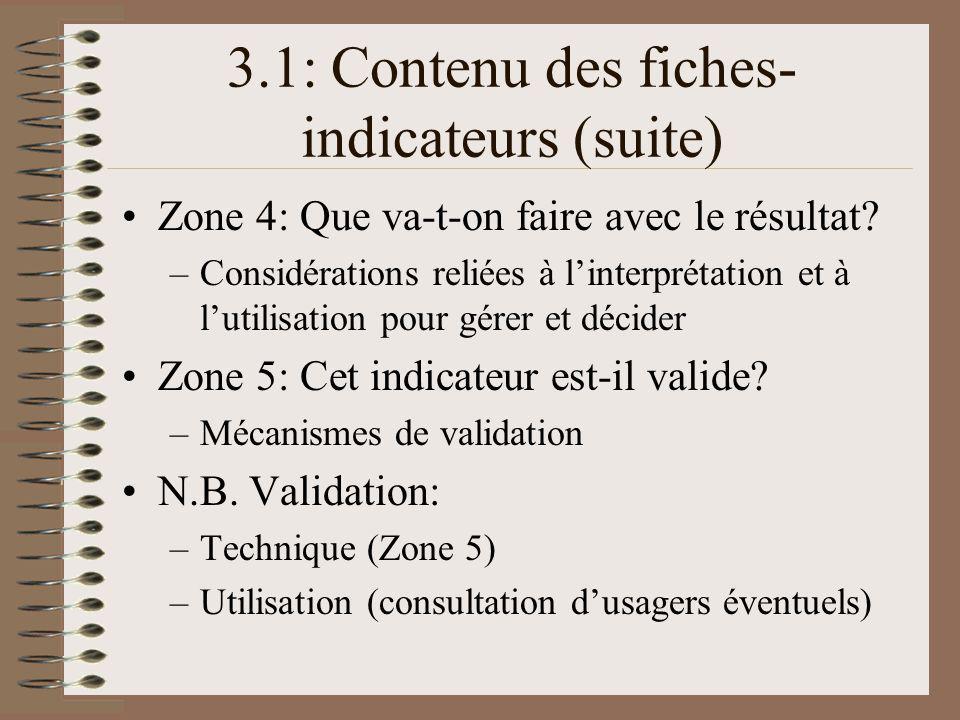 3.1: Contenu des fiches-indicateurs (suite)
