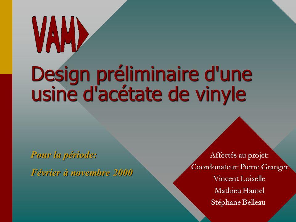 Design préliminaire d une usine d acétate de vinyle