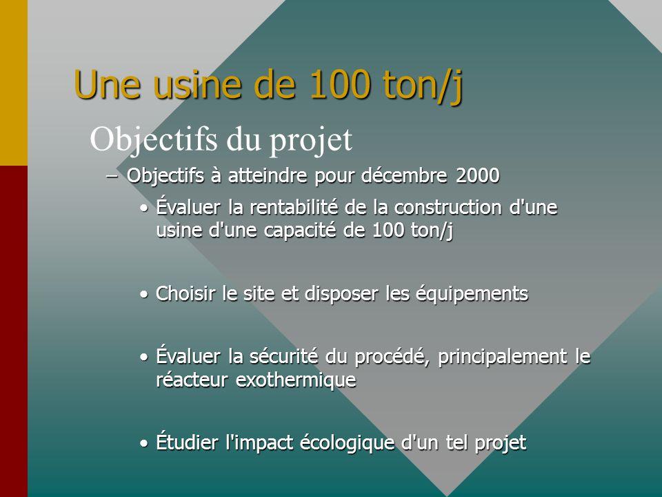 Une usine de 100 ton/j Objectifs du projet