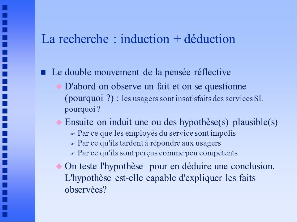 La recherche : induction + déduction