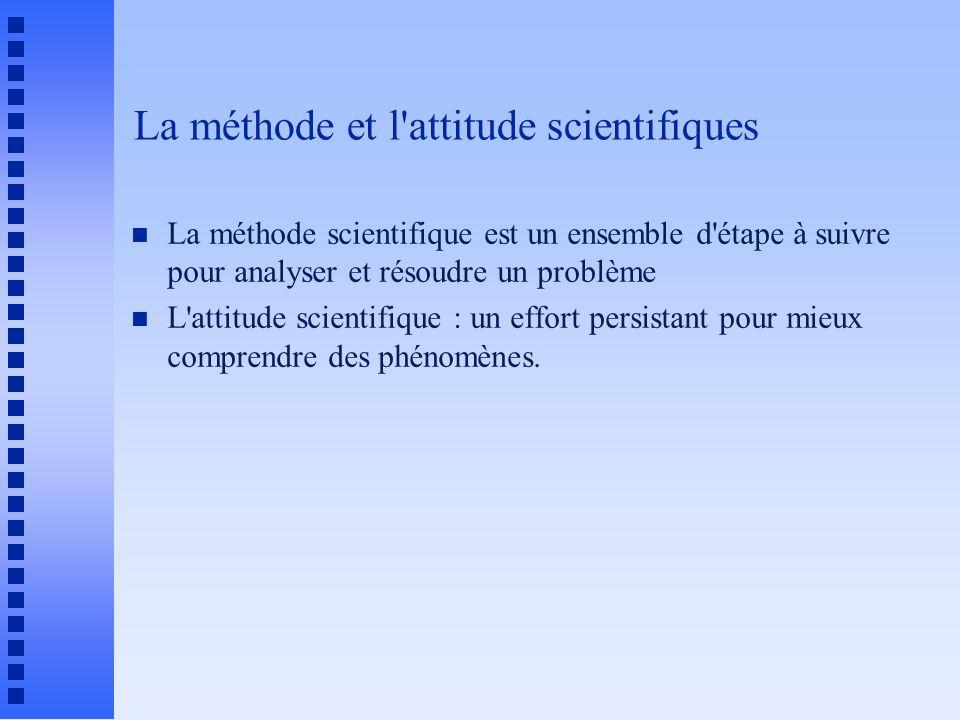 La méthode et l attitude scientifiques