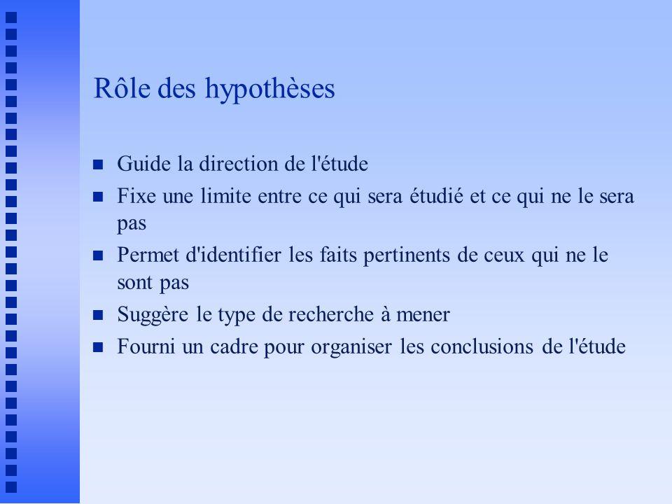 Rôle des hypothèses Guide la direction de l étude
