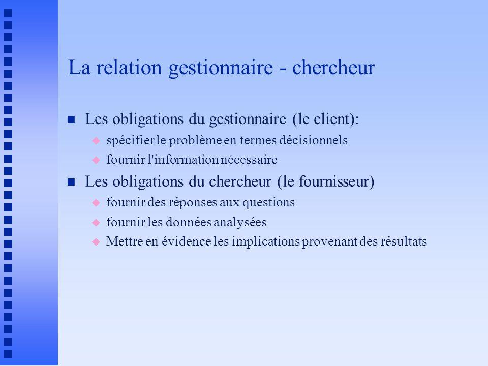 La relation gestionnaire - chercheur