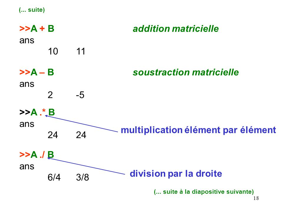 >>A + B addition matricielle ans 10 11