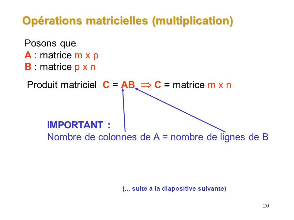 Opérations matricielles (multiplication)