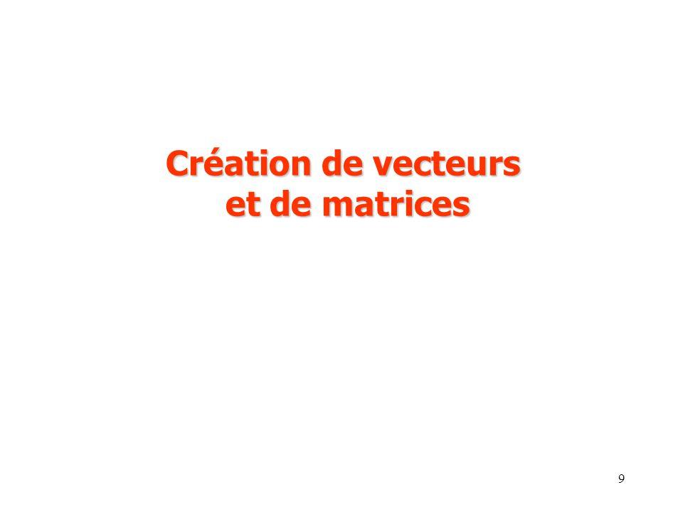 Création de vecteurs et de matrices