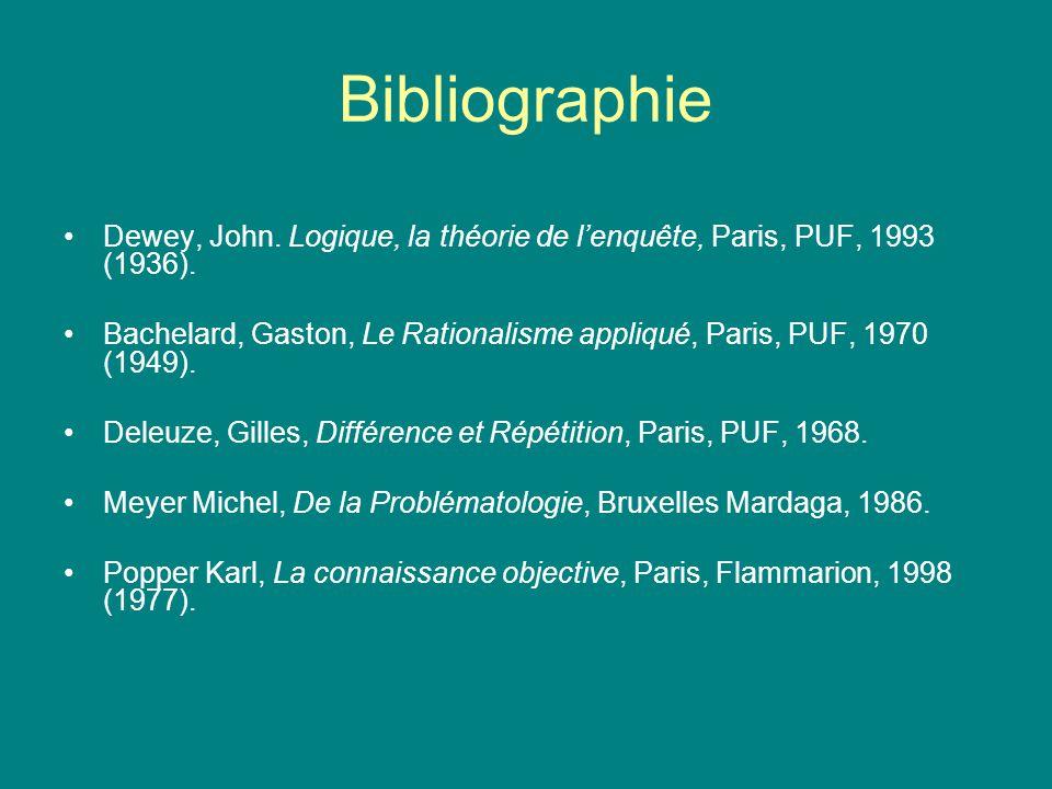 Bibliographie Dewey, John. Logique, la théorie de l'enquête, Paris, PUF, 1993 (1936).