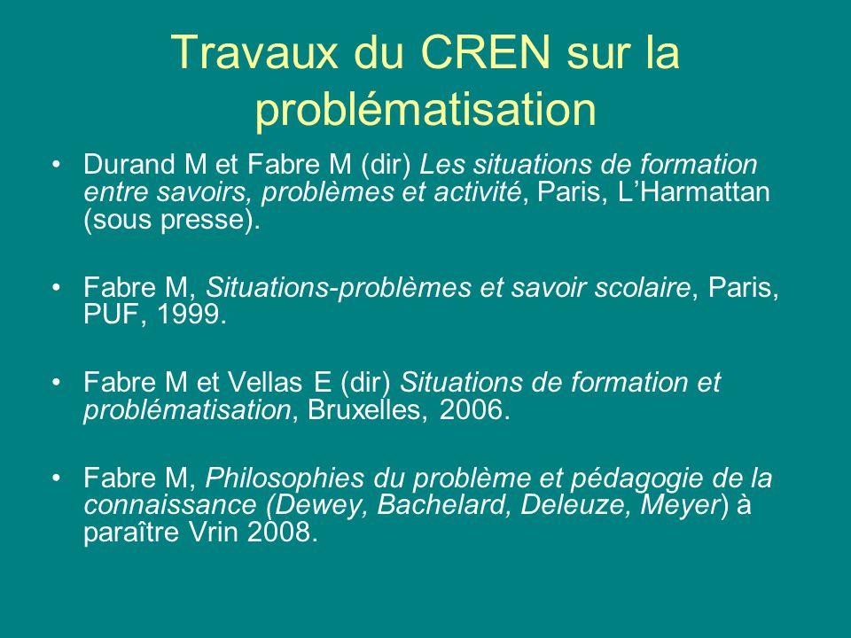 Travaux du CREN sur la problématisation