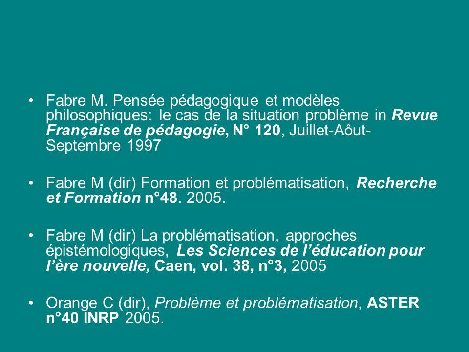 Fabre M. Pensée pédagogique et modèles philosophiques: le cas de la situation problème in Revue Française de pédagogie, N° 120, Juillet-Aôut-Septembre 1997