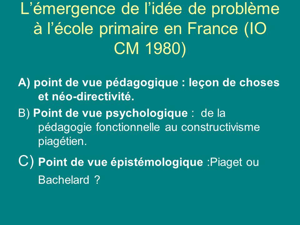 L'émergence de l'idée de problème à l'école primaire en France (IO CM 1980)