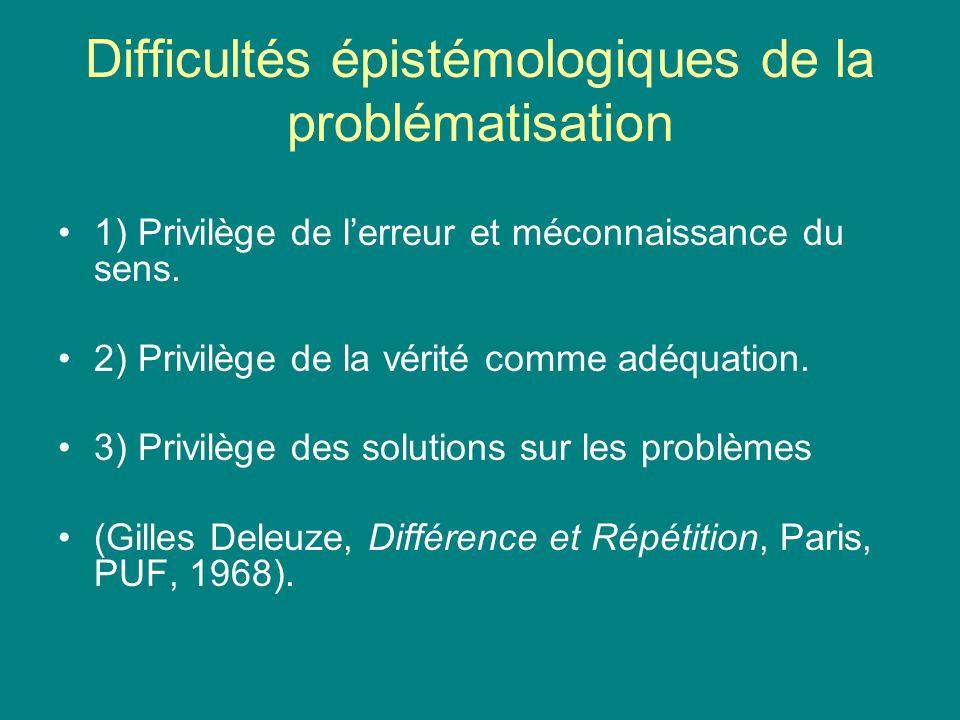 Difficultés épistémologiques de la problématisation