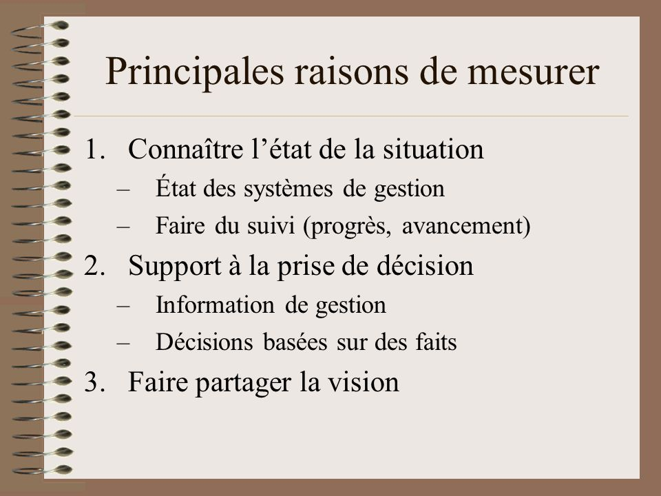 Principales raisons de mesurer