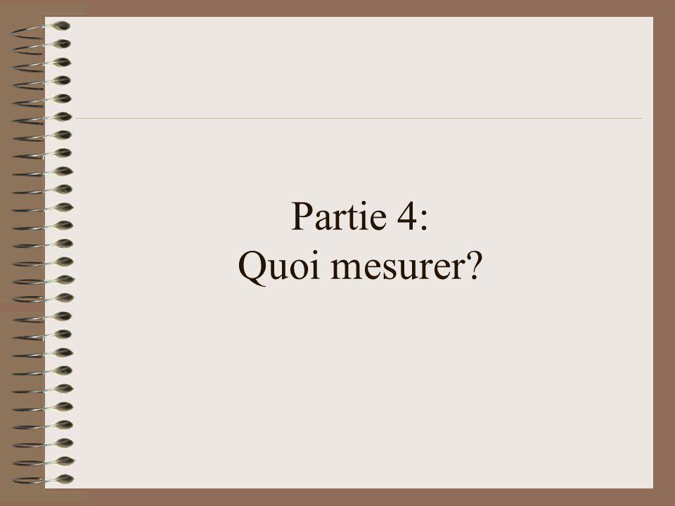 Partie 4: Quoi mesurer