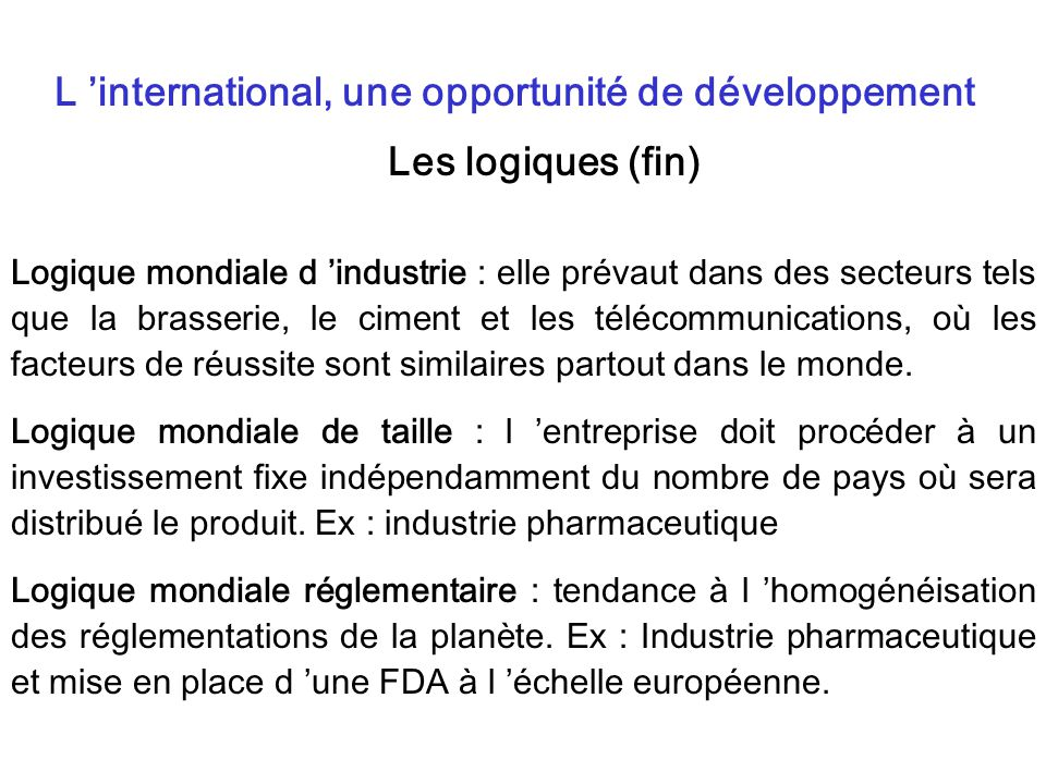 L 'international, une opportunité de développement