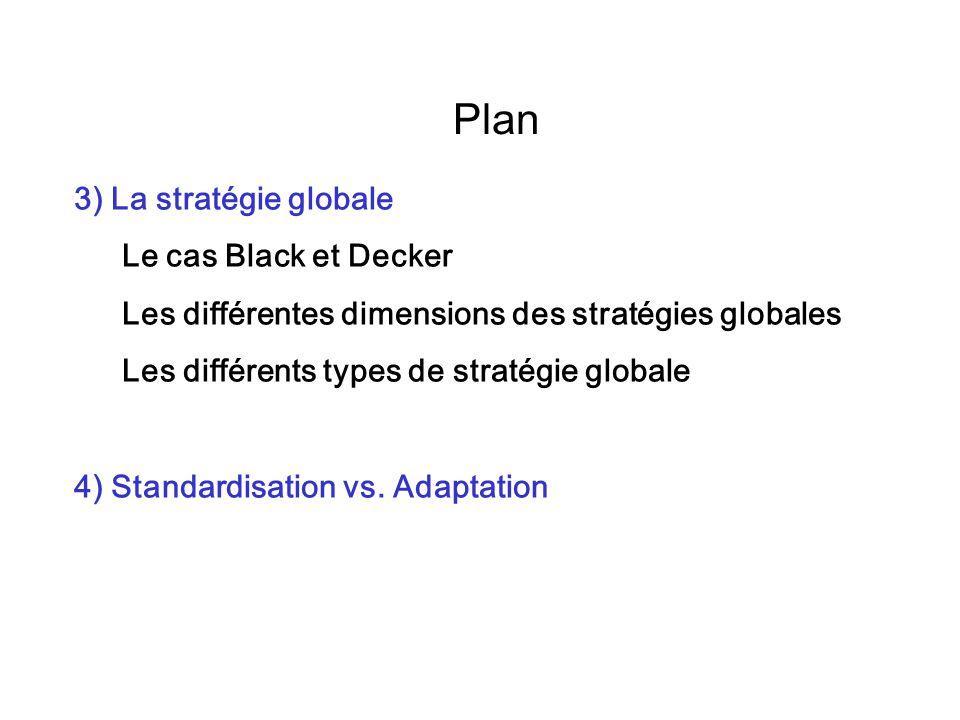 Plan 3) La stratégie globale Le cas Black et Decker