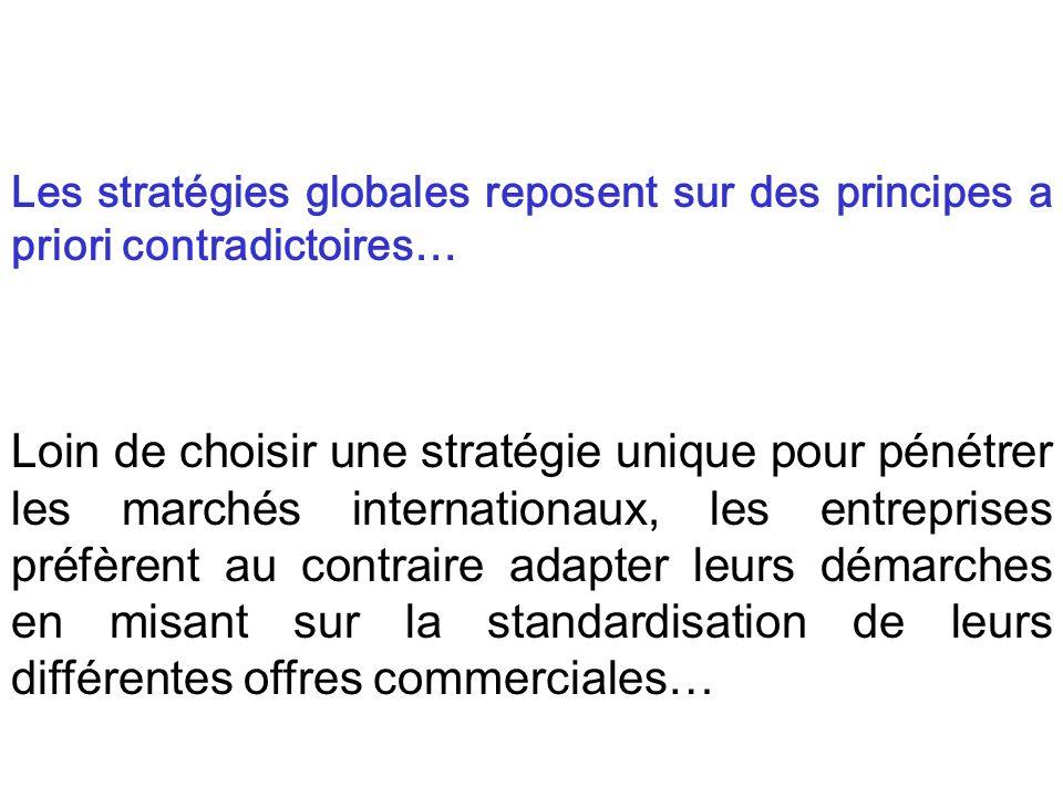 Les stratégies globales reposent sur des principes a priori contradictoires…