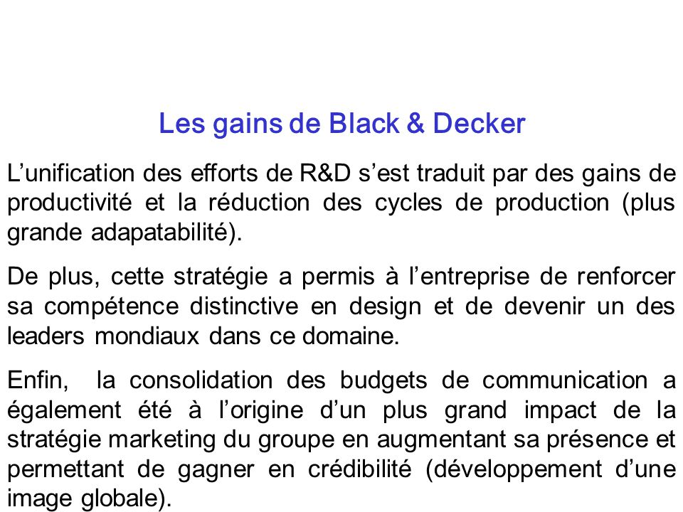Les gains de Black & Decker