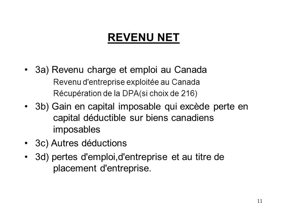 REVENU NET 3a) Revenu charge et emploi au Canada